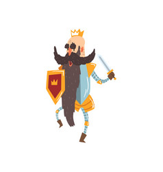 Funny bald king character holding sword and shield vector