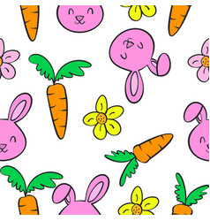 Funny bunny and carrot doodles vector