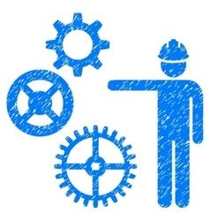 Gears Mechanics Presentation Grainy Texture Icon vector
