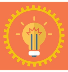 Gears symbol and Bulb light vector image