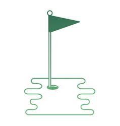 Golf hole with flag vector