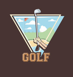 Golf player hands in the course vector