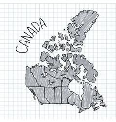 Grey and black pen hand drawn canada map vector