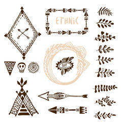Hand drawn ethnic collection with arrows wigwam vector