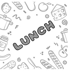 Hand drawn lunch logo for cafe vector