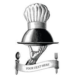 hand holding food tray with chef hat drawing vector image