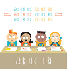 Happy kids at lesson back to school theme vector