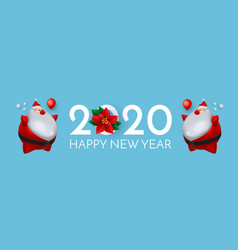 happy new 2020 year cute christmas design with 3d vector image