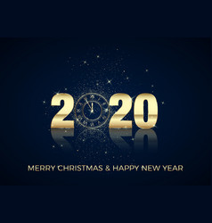 happy new year greeting card golden clock instead vector image