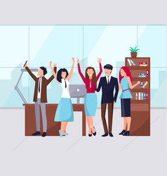 Happy workers in office celebration success vector