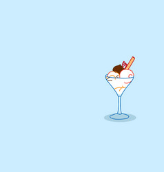 ice cream sundae with wafer stick in glass sweet vector image