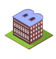 Isometric building letter b form vector