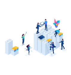 Isometric preparation of tax reports web design vector