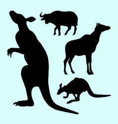 kangaroo and buffalo farm animal silhouette vector image