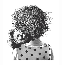 Little girl with teddy bear in engraving style vector image