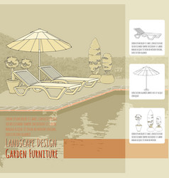 Lounge chairs under patio umbrella and flowers in vector