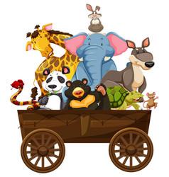 Many wild animals on wooden wagon vector