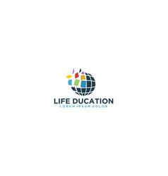 Mosaik globe logo for education and technology vector