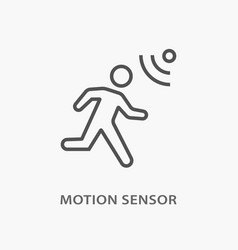 Motion sensor line icon on white background vector