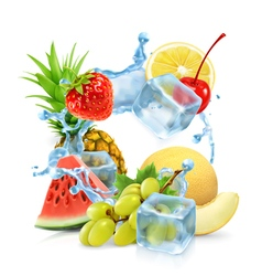 Multifruit with ice cubes and water splash vector