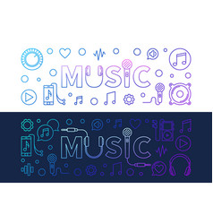 music modern colored banners in outline vector image