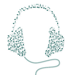 musical notes shaping headphones vector image