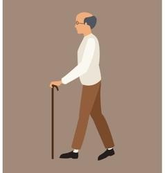 Older man white shirt walking stick vector