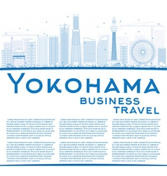 Outline Yokohama with Blue Buildings vector