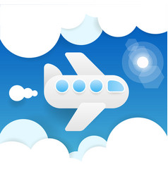 paper flying plane in clouds blue sky travel vector image