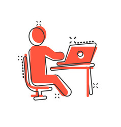 People with laptop computer icon in comic style vector