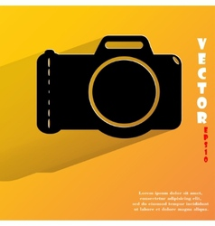 Photo camera Flat modern web button with long vector image