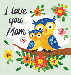 poster with cute owl mother and baby vector image