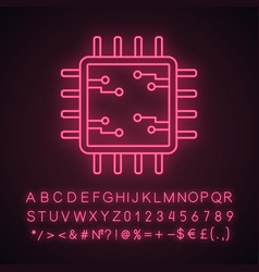 Processor with electronic circuits neon light icon vector