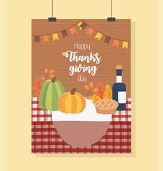 pumpkin cake wine bottle tablecloth happy vector image