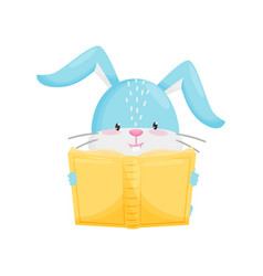 rabbit reading book on white background vector image