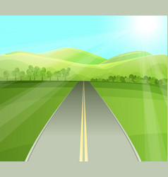 road in valley flat vector image