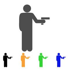 Robber with gun icon vector