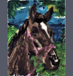 Sad horse drawing child like drawing vector