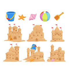 sandcastles set and children toys bucket seashell vector image