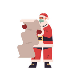 santa claus in protective mask holding paper wish vector image