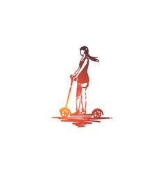 Scooter girl ride bike drive concept hand vector