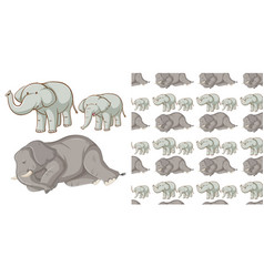 Seamless background design with many elephants vector