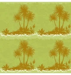 Seamless Landscape Palms and Plants Silhouettes vector image