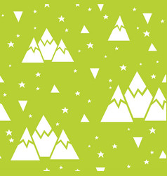 Seamless pattern made of mountains stars vector