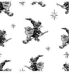 Seamless pattern of witches flying on brooms vector