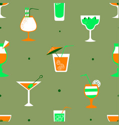Seamless pattern with alcohol cocktails flat vector