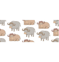 seamless pattern with buffalos vector image