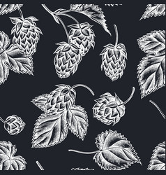 seamless pattern with hand drawn chalk hop vector image