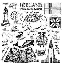 set iceland symbols in vintage style vector image