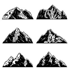 set mountains peaks in vintage monochrome vector image
